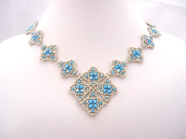 Silver and Turquoise Mailye Necklace with Swarovski Crystals, on sale now!